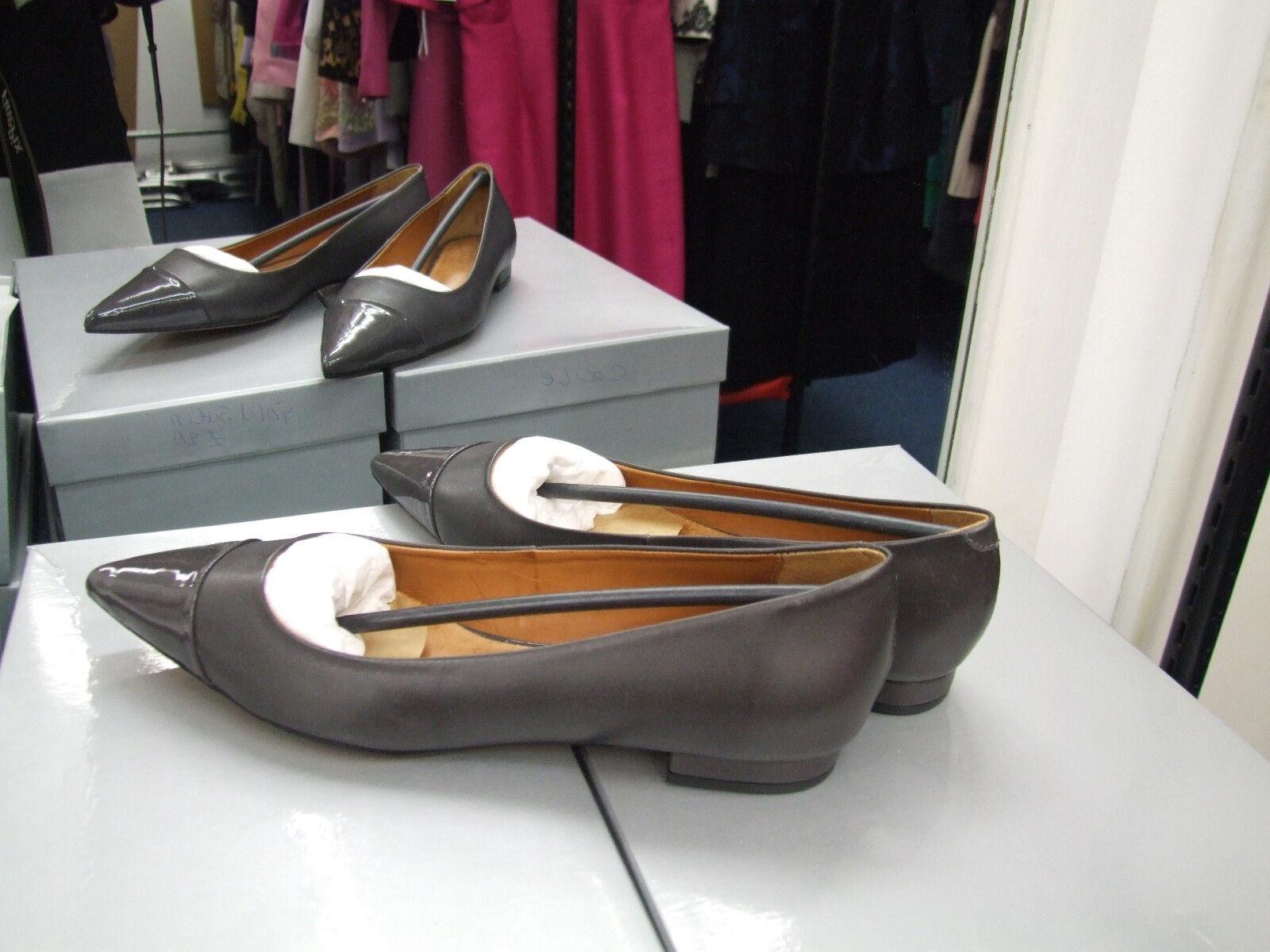 Cecille bnib uk 7 divine gris cuir talon bas mocassins loafers chaussures eu 40 neuf