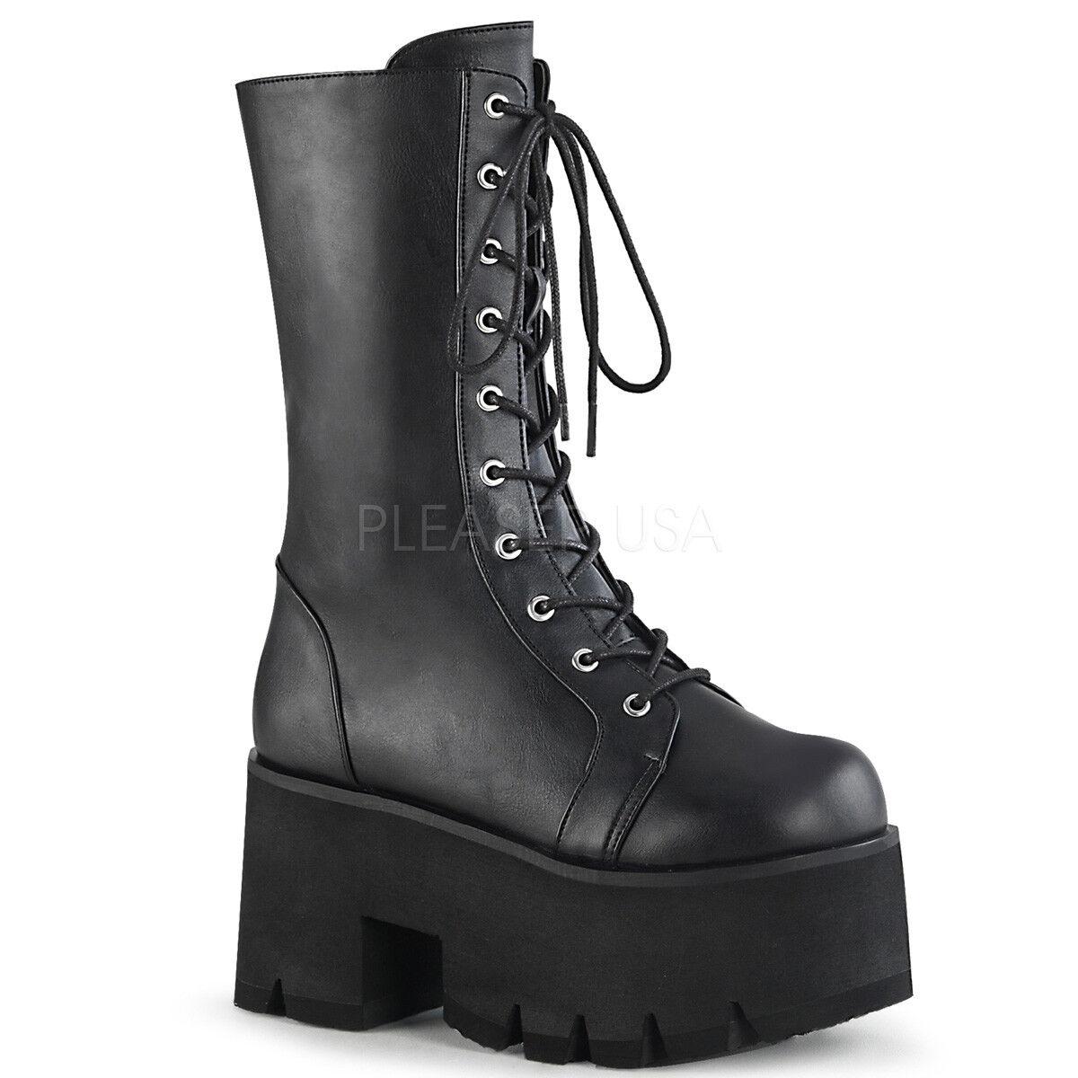 in linea Demonia ASHES-105 Donna  nero nero nero Vegan Leather Chunky Heel Platform Lace-Up stivali  economico e di alta qualità