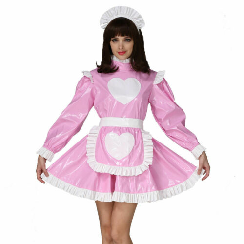 Forced Sissy Maid Heart Shaped Pattern Lockable Dress Cosplay Costume Crossdress