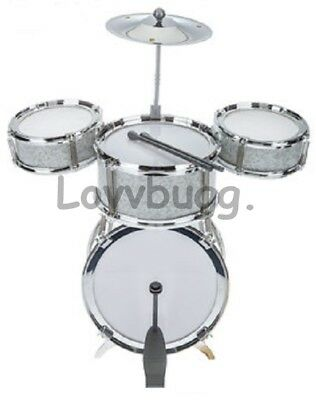 "Lovvbugg! 8 pc BASS Drums Set Mini for American Girl Boy 18/"" Doll Accessory U.S"
