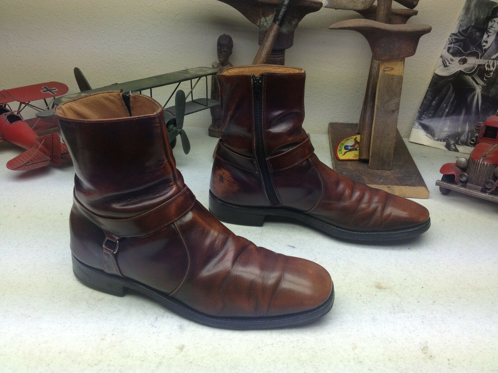 USA SQUARE TOE HIPSTER ZIP UP DISTRESSED LEATHER LEATHER LEATHER BROWN BOSS BEATLE BOOTS 10 C/A 3cd82e