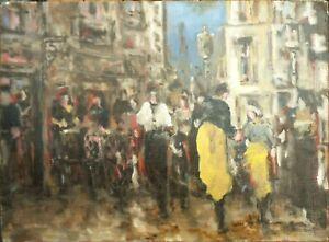 tableau-huile-toile-jour-de-marche-en-Bretagne-signee-034-034