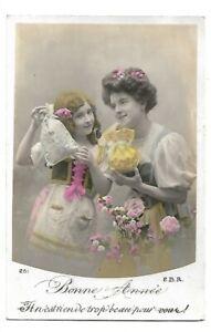 CPA-FANTAISIE-carte-postale-ancienne-JEUNE-FEMME-fillette