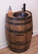 1/2 Rustic Whiskey Barrel Vanity-For Small Bath-Copper Sink-Faucet,Stopper-Door