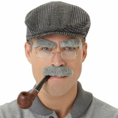 Old Man Eyebrows and Moustache Fancy Dress Stag Sherlock Holmes Plastic Pipe
