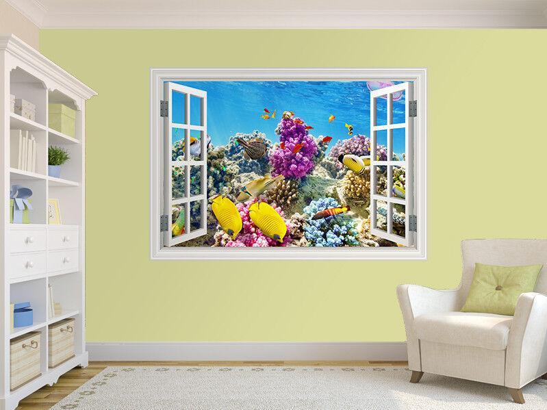 Beau Décoration Récif de Corail Photo Fenêtre Autocollant Mural Décoration Beau (38718252ww) 006c41