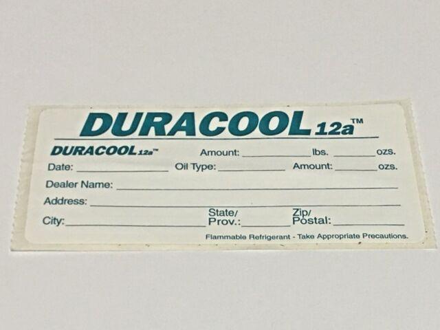 DURACOOL R12A Sticker Label Refrigerant R12A 4