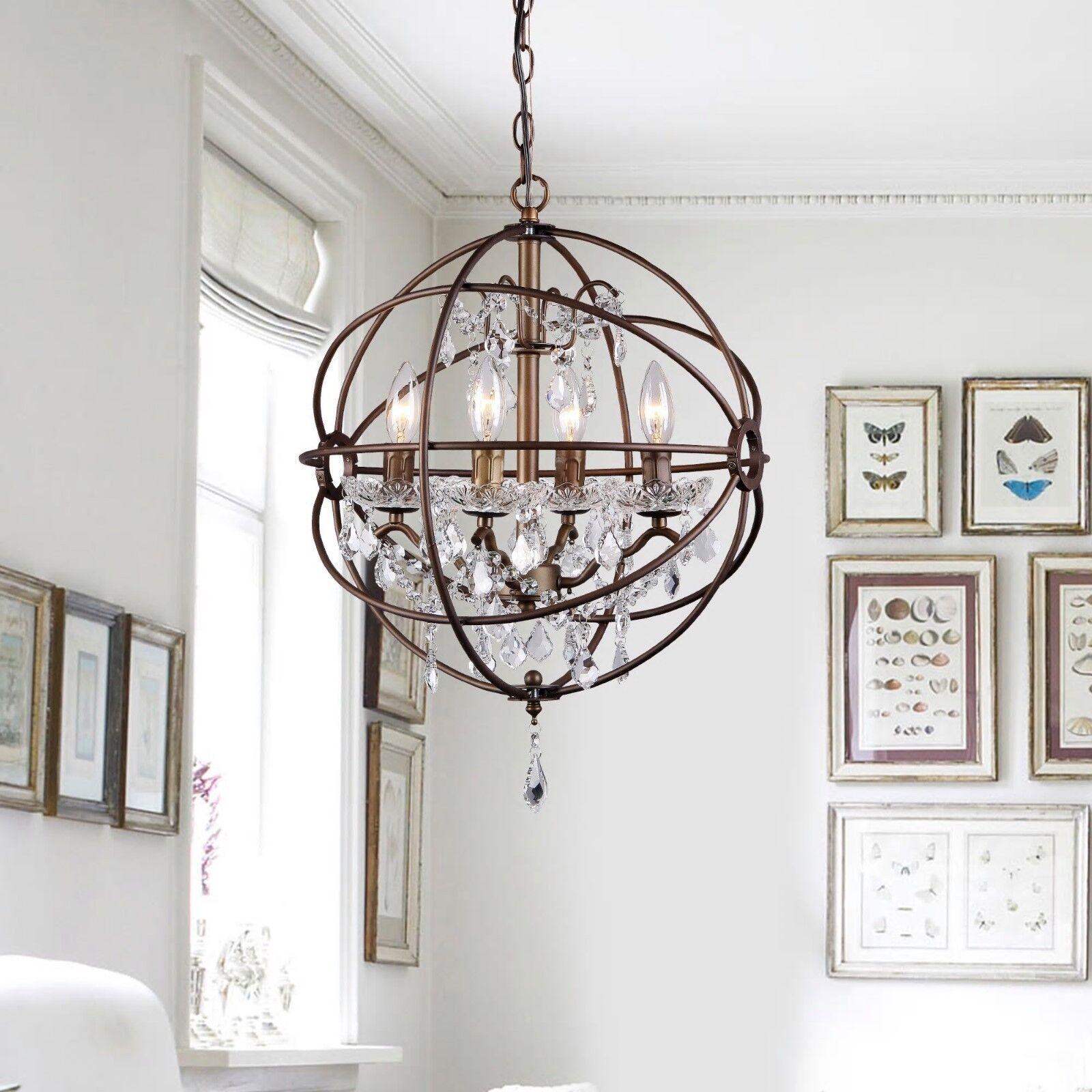 Modern Chandelier Lighting Globe 4 Lights Wood Ceiling: Modern Chandelier Globe 4 Light Metal Ceiling Fixture