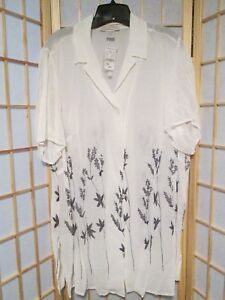 August-Max-Woman-White-Black-Floral-Two-Piece-Dress-Blouse-16-20-NWT