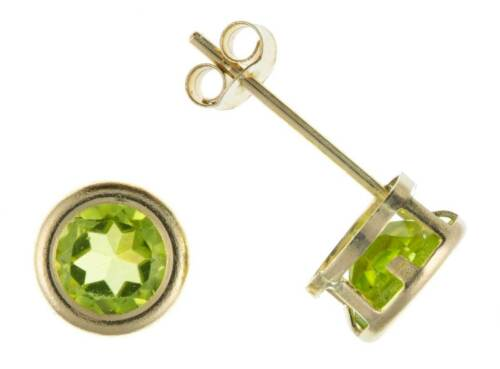 9CT YELLOW GOLD ROUND REAL PERIDOT BIRTHSTONE AUGUST STUD EARRINGS BOXED