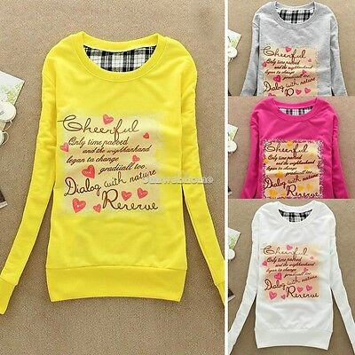 Women Long Sleeve Sweatshirt Crew Neck Pullover Blouse Shirt Sweater Outwear