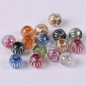 50pcs-10mm-Round-Resin-Loose-Spacer-Charm-Big-Hole-Beads-lot-for-Jewelry-Making