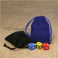 """NEW 5/"""" x 7/"""" Blue Velveteen Cloth Dice Bag RPG D/&D Game Tokens Counter Pouch"""
