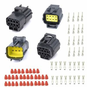 2 Set 8 Pin Way Car Waterproof Electrical Wire Cable Connector Plug Terminals