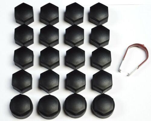 VAUXHALL INSIGNIA 2010-2017 WHEEL NUT BOLT COVERS CAPS 22mm BLACK x20 NEW TOOL