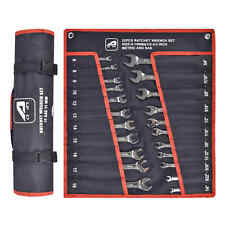 22pc Ratcheting Combination Wrench Set Sae Inch Imperial Metric Mm Tool With Bag