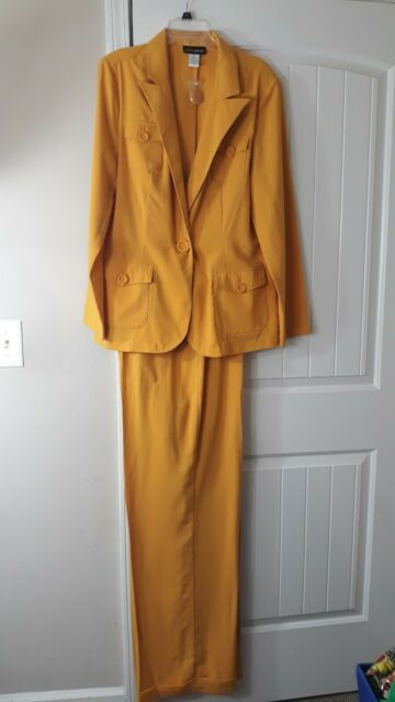 METROSTYLE Mustard 2 Piece Pant Suit Long Sleeves Wide Leg Pants Women's S 18T