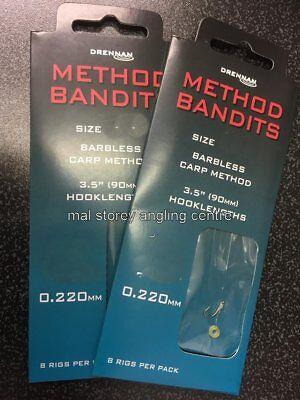 "All Sizes bait band rig Drennan Method Bandits Carp Feeder 3.5/"" Hooklengths"