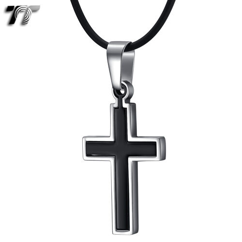 TTstyle Two-Tone S.Steel Cross Pendant Necklace Unisex 4 Colour Available NEW