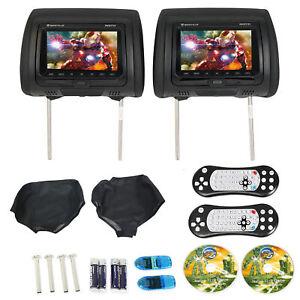 Rockville-RVD721-BK-7-034-NOIR-double-DVD-USB-HDMI-SD-appuie-tete-Voiture-Moniteurs-jeux