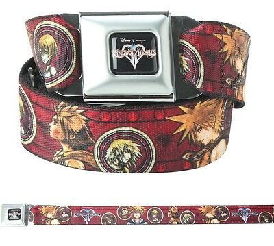 "DISNEY KINGDOM HEARTS SORA RIKU KAIRI ADJUSTABLE BELT 24""-43"" w SEAT BELT BUCKLE"