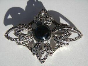 5684 Solid Sterling Silver925 Marcasite Black Onyx Beetle Brooch Pin;SKU