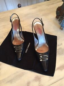Details about Dolce Gabbana Slingback Safety Pins Heels Shoes 37.5