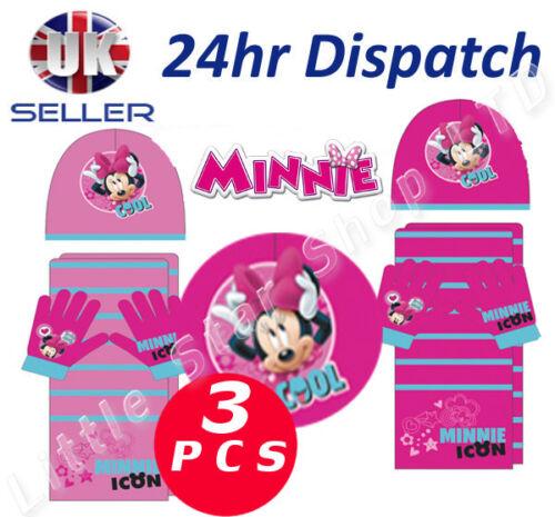 Officiel disney minnie mouse bébé fille 3pcs set chapeau d/'hiver écharpe et gants