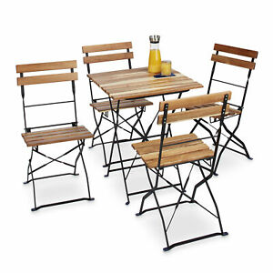 Détails sur Chaise de jardin pliante lot de 4 en bois nature et métal sans  accoudoir
