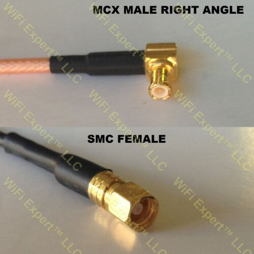 USA-CA LMR100 MCX MALE ANGLE to SMC FEMALE Coaxial RF Pigtail Cable