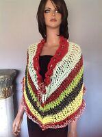 Hand Knit Shawl Wrap Caplet Designer Summer Fashion Hip Stylish Multicolor Lace