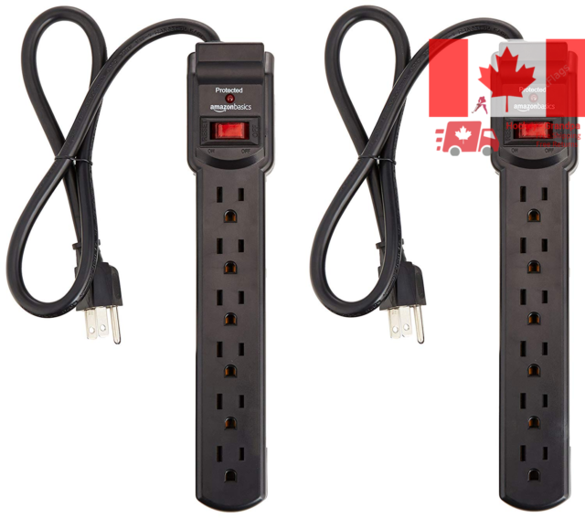 AmazonBasics 6-Outlet Surge Protector Power Strip 2-Pack, 200 Joule - Black