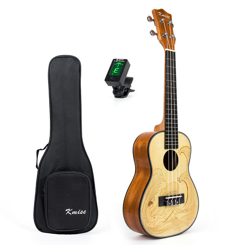 Kmise Spruce Concert Ukulele 23 inch Hawaii Guitar Mahogany with Bag and Tuner