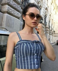 3481ad35 Brandy Melville blue white striped tie front button up Lily Tank top ...