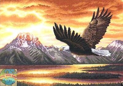 Cross Stitch Kit ~ Gold Collection Silent Flight Bald Eagle & Mountain #35165