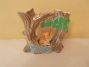 V-Rare-Blue-Coloured-Hornsea-Pottery-Double-Posy-Vase-Model-of-Deer-under-Tree