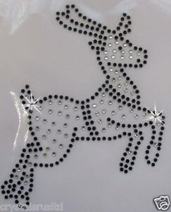 REINDEER-BLACK-CHRISTMAS-XMAS-MOTIF-iron-on-BLING-RHINESTONE-TSHIRT-TRANSFER