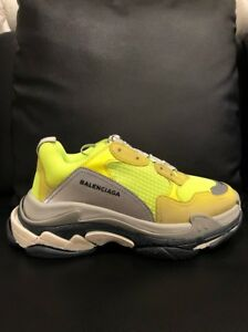 Details about NIB Balenciaga Triple S Sneaker Neon Yellow Grey Speed Flat Trainer 42 Men US 9
