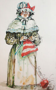 Vintage-Watercolor-Painting-Old-Woman-Theatre-Costume-Design-Signed