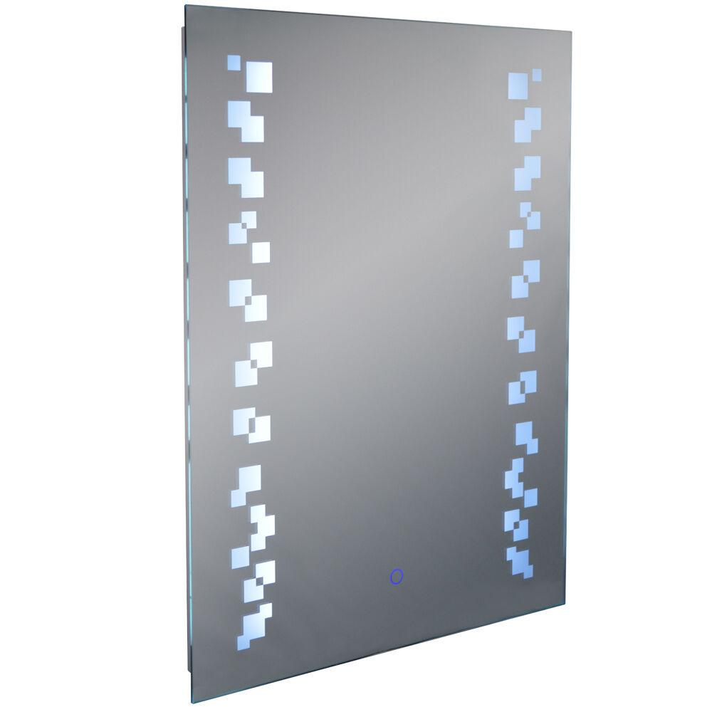 Led éclairé 80 X 60cm Rectangulaire Miroir Mural Clair Dispositif Anti-buée