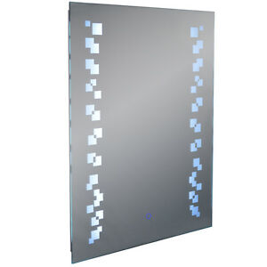 Led illuminated 80 x 60cm rectangular wall mirror light for Mirror 60cm wide