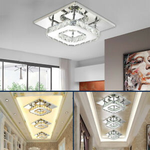 New square 20cm 12w led crystal ceiling lights chandeliers aisle image is loading new square 20cm 12w led crystal ceiling lights mozeypictures Gallery