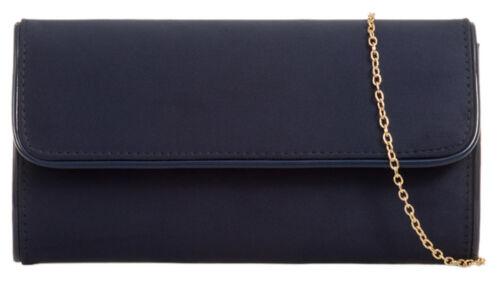 Plain Suede Glossy Trim Clutch Bag Womens Handbag Evening Events Shoulder Chain