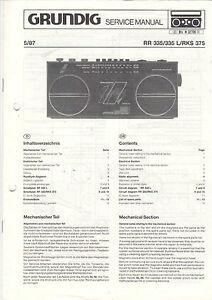 QualitäT Grundig Service Manual Anleitung Rr 335/335 L/rks 375 B1297 üBerlegene In
