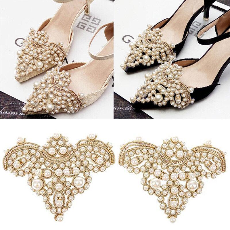 2Pcs Elegant Rhinestone Pearl Shoes Clip Flower Dress Hat Wedding Patch Applique