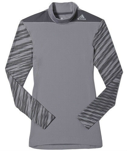 Adidas Mens Techfit Compression Techfit Base layer Warm MockTee White//Black//Gray