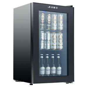 3 Cu.Ft 24 Bottle Wine Cooler with 3 Adjustable Shelves KITMA 120 Can Beverage Cooler and Refrigerator Wine Soda Small Mini Fridge with Glass Door for Beer
