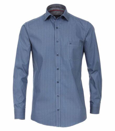 483021300 Casa Moda-Comfort fit-Uomo Camicia con stampa moderno in blu