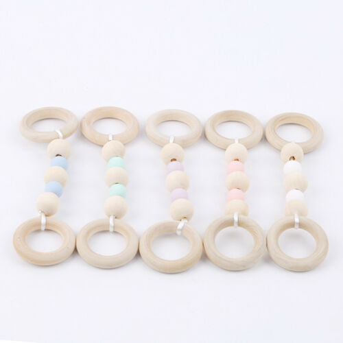 1 Pcs Baby Wooden Silicone Beads Ring Infant Nursing Teething Chew Toy CS