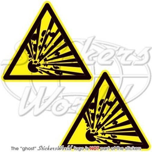 """EXPLOSIVE Warning Safety Sign Explosion Danger  Vinyl Sticker-Decals 75mm(3"""") x2"""
